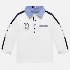 Mayoral Infant Boys Long Sleeved Polo Shirt - White