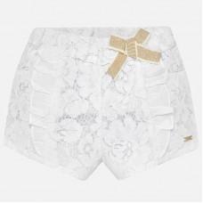 ~Mayoral Infant Girls Lace Shorts - White