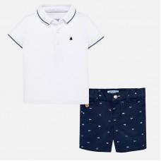 Mayoral Infant Boys Polo Shirt and Shorts - White/Navy