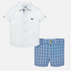 Mayoral Infant Boys Linen Shirt and Shorts - White/Sky