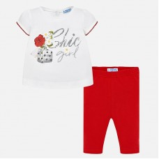 """Mayoral Infant Girls """"Chic Girl"""" Two Piece - White/Red"""