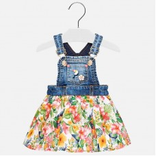 Mayoral Infant Girls Floral Dungaree Skirt - Geranium