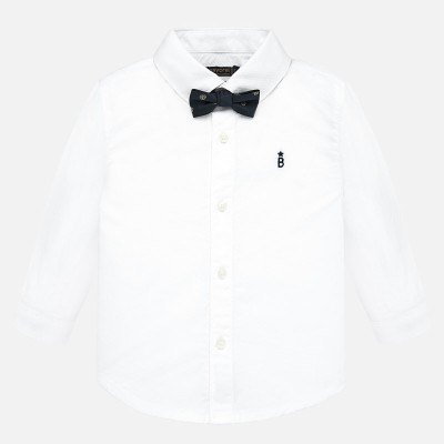 ~Mayoral Infant Boys Shirt with Bow-Tie - White