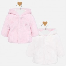 Mayoral Baby Faux Fur Reversible Coat- Baby Pink
