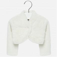 Mayoral Infant Girls Faux Fur Bolero - White