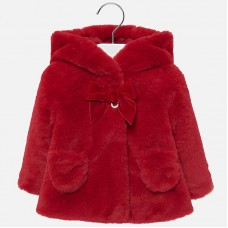 Mayoral Infant Girls Hooded Faux Fur Coat - Red