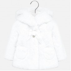 Mayoral Infant Girls Hooded Faux Fur Coat - White