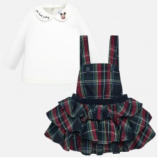 Mayoral Infant Girls Dungaree Skirt  and T-Shirt - Navy