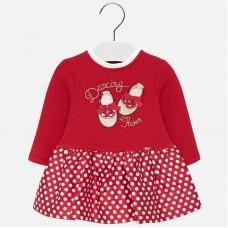 Mayoral Infant Girls Combined Polka Dot Dress - Red