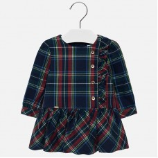 Mayoral Infant Girls Checked Dress - Navy