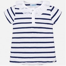 22b16b1981 Mayoral KIds Girls Ruffle Neck T-Shirt - Navy