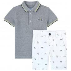 Mayoral Kids Boys Polo and Shorts Set - Grey & White