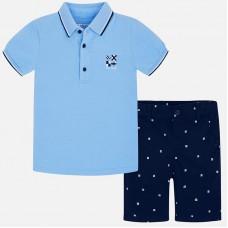 Mayoral Kids Boys Polo and Shorts Set - Sky & Navy