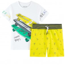 Mayoral Kids Boys Printed T-Shirt and Shorts - Yellow & White