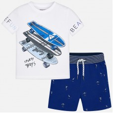 Mayoral Kids Boys Printed T-Shirt and Shorts - Blue & White