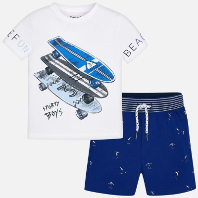 ~Mayoral Kids Boys Printed T-Shirt and Shorts - Blue & White