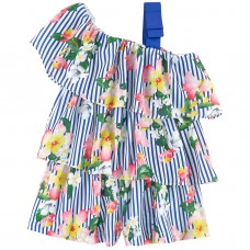 1505bdcb63ceb1 Mayoral Kids Girls Floral Playsuit - Blue & White