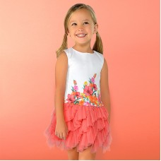 Mayoral Kids Girls Combined Tulle Dress - Coral