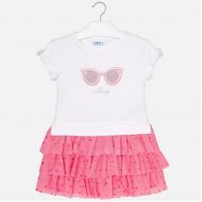 Mayoral Kids Girls Combined Tulle Dress - Bubblegum
