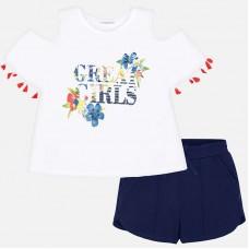 Mayoral Junior Girls T-Shirt and Shorts - White/Navy