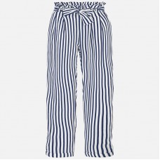 Mayoral Junior Girls Striped Trousers - Navy