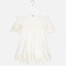 Mayoral Junior Girls Embroidered Dress - White
