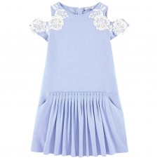 Mayoral Junior Girls Lace Sleeved Dress - Sky