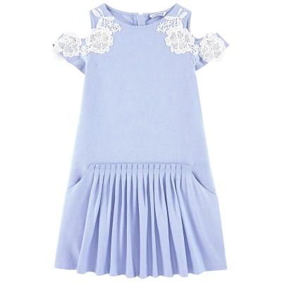 Mayoral Junior Girls Lace Sleeved Dress - Sky