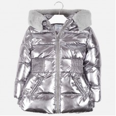 Mayoral Junior Girls Quilted Coat - Silver