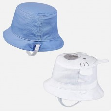 Mayoral Baby Boys Reversible Hat - White/Blue