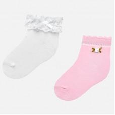 ~Mayoral Infant Girls Socks x 2 Pairs - White/Pink