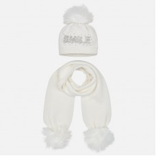 Mayoral Kids Girls Hat and Scarf Set - White