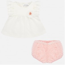 Mayoral Baby Girls Ruffle Bottom Set - Pink