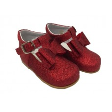 Andanines Girls Glitter Bow Shoe - Red