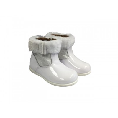 Andanines Girls Fur Ankle Boot - White