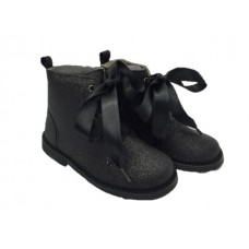 Andanines Girls Glitter Ankle Boot - Black