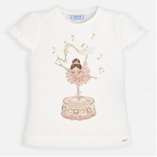 Mayoral Kids Girls Ballerina T-Shirt - Cream