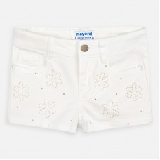 ~Mayoral Kids Girls Flower Pattern Short - Cream