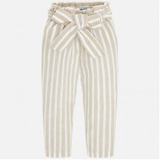 ~Mayoral Kids Girls Stripe Trouser - Cream