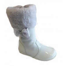 ~Andanines Girls  Faux Fur Bow Boot - White