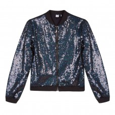 ~3Pommes Kids Girls Sequinned Bomber Jacket - Navy