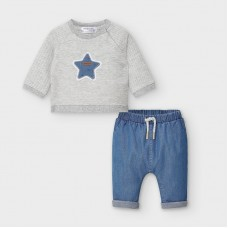 Mayoral Baby Boys Trouser & Sweatshirt Set - Grey