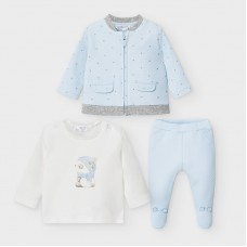Mayoral Baby Boys 3 Piece Quilted Tracksuit - Pale Blue