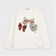 Mayoral Kids Girls Bow T-Shirt - Off White/Red