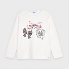 Mayoral Kids Girls Bow T-Shirt - White/Pink