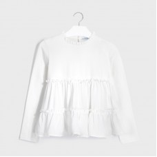 Mayoral Junior Girls Ruffle Top - Off White