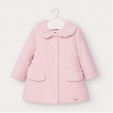 Mayoral Infant Girls Fur Collar Coat- Pink