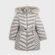 Mayoral Junior Girls Long Jacket - Silver