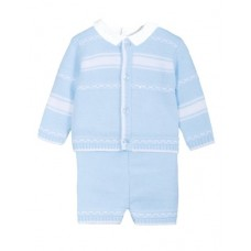Jacob Matthews Boys Knit Three Piece Suit - Pale Blue