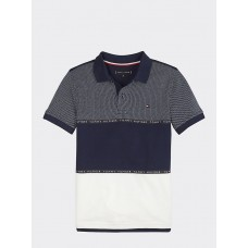 Tommy Hilfiger Boys Colour Blocked Polo - Navy